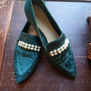 Green Velvet Loafers